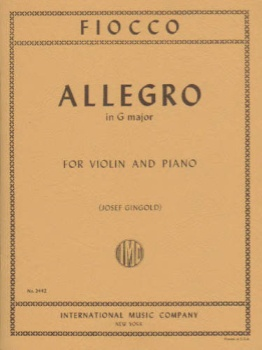 Fiocco - Allegro in G major, for Violin and Piano