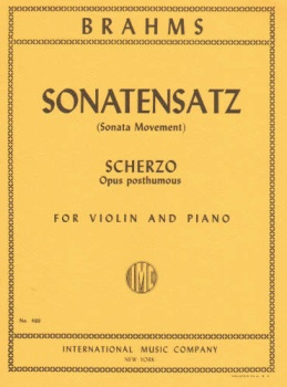Brahms - Sonatensatz (Sonata Movement), Scherzo, Opus posthumous for Violin and Piano