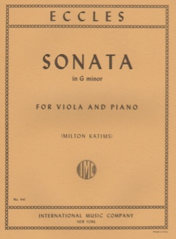 Eccles - Sonata In G minor, for Viola and Piano
